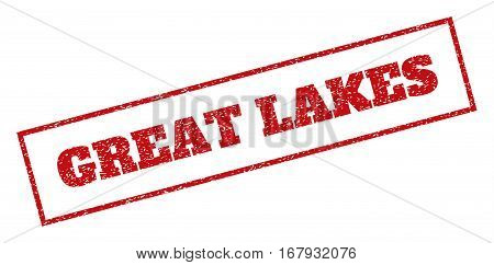 Red rubber seal stamp with Great Lakes text. Vector message inside rectangular shape. Grunge design and dirty texture for watermark labels. Inclined sign.