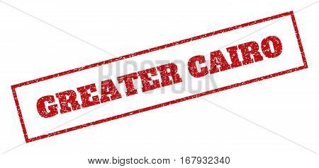 Red rubber seal stamp with Greater Cairo text. Vector message inside rectangular banner. Grunge design and scratched texture for watermark labels. Inclined emblem.