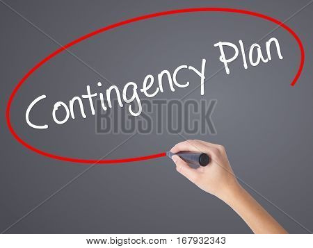 Woman Hand Writing Contingency Plan With Black Marker On Visual Screen.
