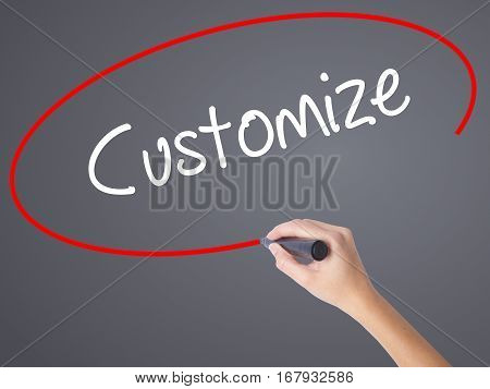 Woman Hand Writing  Customize With Black Marker On Visual Screen