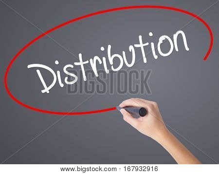 Woman Hand Writing Distribution With Black Marker On Visual Screen