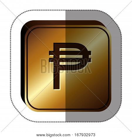 sticker golden square with currency symbol of philippine vector illustration