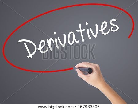 Woman Hand Writing Derivatives With Black Marker On Visual Screen