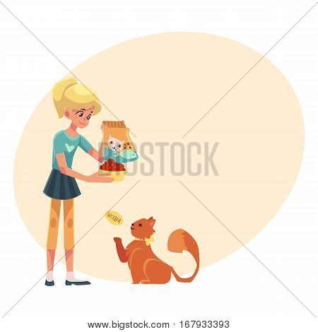 Teenage girl giving food to her fluffy red cat, cartoon vector illustration on background with place for text. Full length portrait of blond girl feeding her red, long haired cat