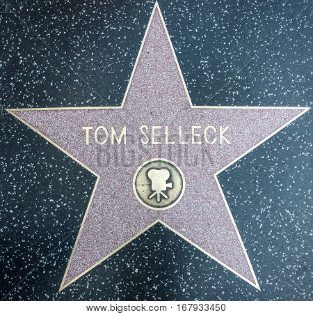 HOLLYWOODCA - OCTOBER 08 2015: Tom Selleck star. In 1958 the Hollywood Walk of Fame was created as a tribute to artists working in the entertainment industry.