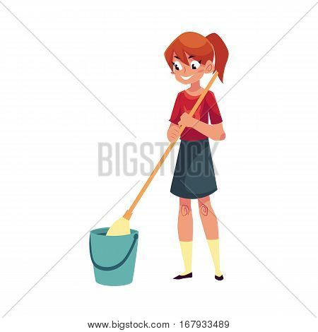 Teenage girl helping to clean the house, washing floors with a mop, cartoon vector illustration isolated on white background. Girl cleaning home with mop and water