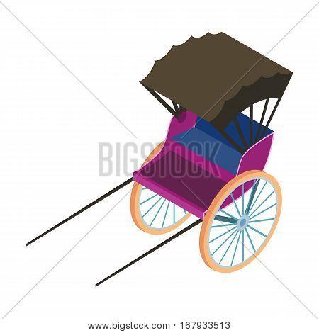 Rickshaw icon in cartoon design isolated on white background. Transportation symbol stock vector illustration.