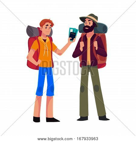 Two man travelling, hitchhiking with backpacks and ticket, cartoon illustration isolated on white background. Female backpackers, hitchhikers, friends travelling with backpacks and ticket