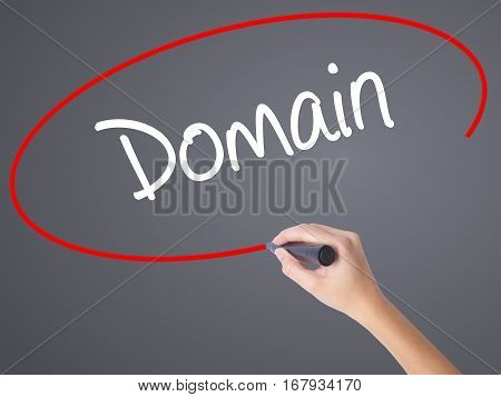 Woman Hand Writing Domain With Black Marker On Visual Screen