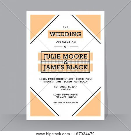 Retro Wedding Invitation template. Tradition decoration for wedding. Vector illustration