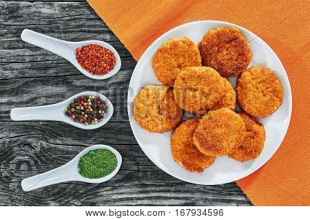 Juicy Delicious Fried Chicken Cutlets On White Dish