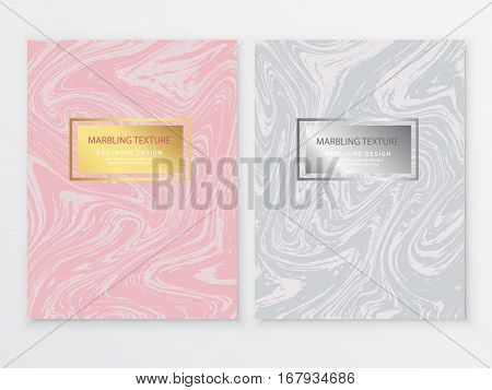 Marbling Texture design brochure.Abstract card with liquid lines. Marble effect. Vector illustration.
