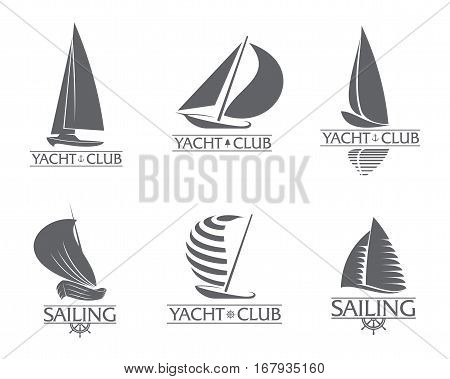 Set of black and white graphic yacht club, sailing sport logo templates, vector illustration isolated on white background. Graphic yacht, sail boat logotype, logo design
