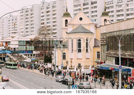 Minsk, Belarus - April 6, 2016: Cathedral of Saints Peter and Paul - temple of the Belarusian Exarchate of the Russian Orthodox Church. Full name - Cathedral of the Holy Apostles Sts Peter and Paul.