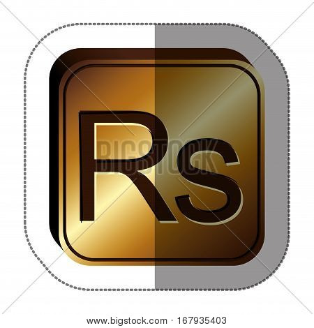 sticker golden square with currency symbol of india rupee vector illustration