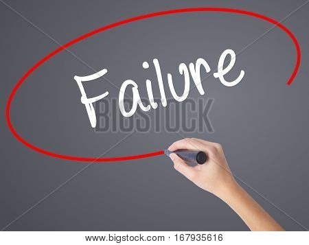 Woman Hand Writing Failure With Black Marker On Visual Screen
