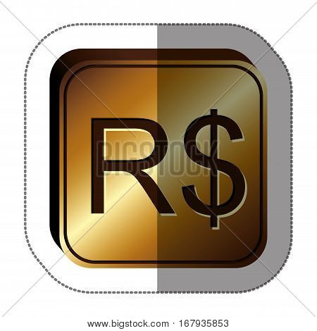 sticker golden square with currency symbol of brazilian real vector illustration