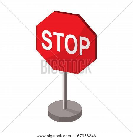 Stop road sign icon in cartoon design isolated on white background. Road signs symbol stock vector illustration.