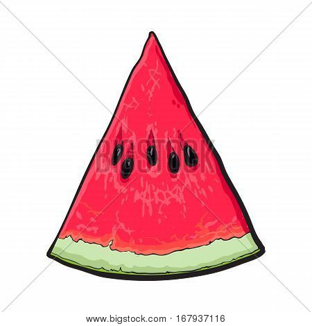 Triangular slice of ripe watermelon with black seeds, sketch style vector illustration isolated on white background. Realistic hand drawing of piece, sliced, V-shaped section of ripe watermelon