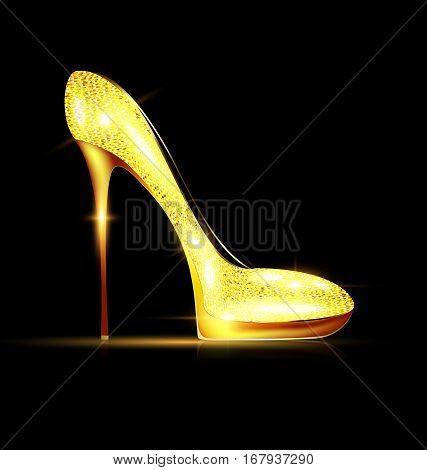 dark background and the golden ladys shoe-spiky