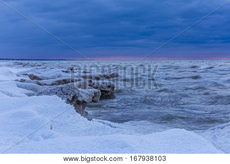 Lake Huron Shoreline At Twilight In Winter