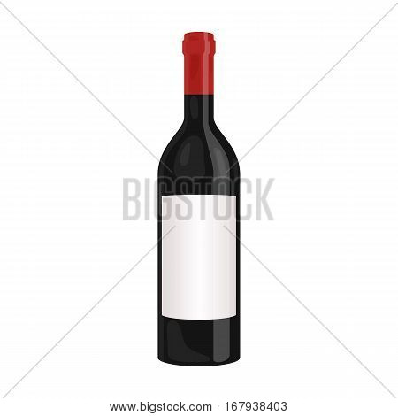 Bottle of red wine icon in cartoon design isolated on white background. Wine production symbol stock vector illustration.