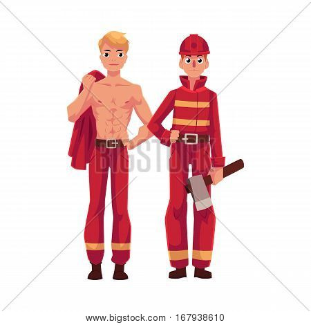 Two firefighters, firemen, one at work, another resting with naked torso, cartoon vector illustration isolated on white background. Full length portrait of firefighter, fireman at work, between shifts
