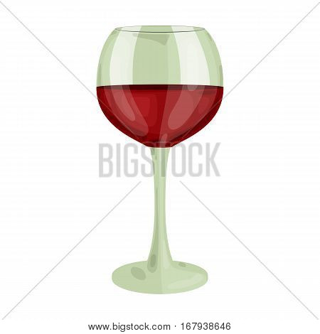 Glass of red wine icon in cartoon design isolated on white background. Wine production symbol stock vector illustration.
