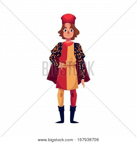 Full length portrait of young Italian man in Renaissance time costume, cartoon vector illustration isolated on white background. Medieval, Renaissance Italian man in traditional historical costume