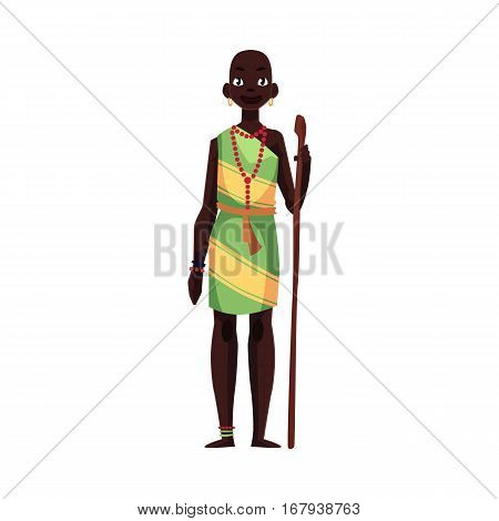 Native aborigine woman from African tribe wearing bracelets and bead necklace, cartoon vector illustration isolated on white background. Beautiful female African aborigine, full length portrait