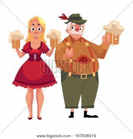 Man and woman in traditional German, Bavarian Oktoberfest costume holding beer mugs, cartoon vector illustration isolated on white background. German, Bavarian couple, people in traditional costume