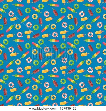 Cute sweet colorful donut seamless pattern. Chocolate or cream yummy cookie dessert. Candy decoration color ice cream fast food vector background.