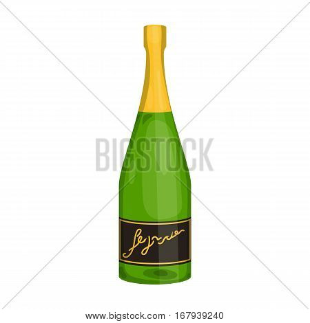 Bottle of champagne icon in cartoon design isolated on white background. Wine production symbol stock vector illustration.