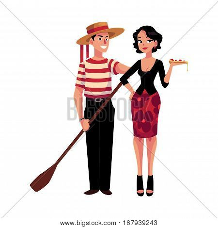 Man and woman symbolizing Italian traditions, fashion and cuisine, cartoon vector illustration isolated on white background. Italian gondolier and fashionable woman holding pizza, symbols of Italy