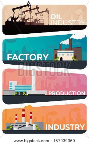 Industrial Building Factory Set. Manufacturing, Oil Industry Vector Flat Illustration.