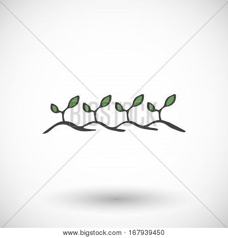 Plants on the ground sign. Hand-drawn cartoon gardening icon with round shadow. Vector illustration