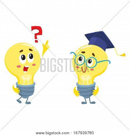 Two cute light bulb characters, one asking question, another wearing nerd round glasses and graduation cap, cartoon vector illustration isolated on white background. Two funny light bulb characters