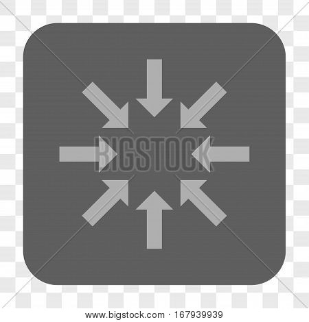 Collapse Arrows interface toolbar button. Vector icon style is a flat symbol in a rounded square button, light gray and gray colors, chess transparent background.