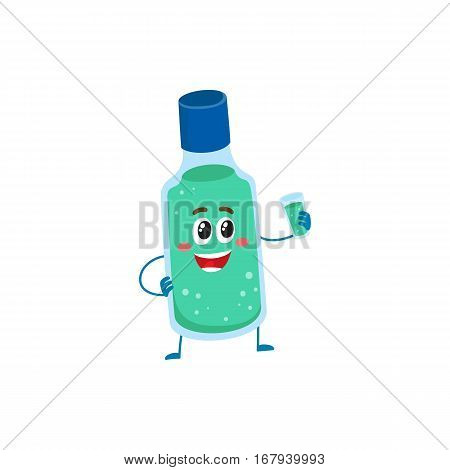 Cute and funny dental mouthwash, mouth rinse character holding glass, cartoon vector illustration isolated on white background. Dental mouthwash funny character, teeth hygiene, dental care concept