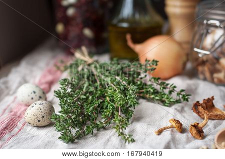 Thyme And Other Mushroom Soup Ingredients