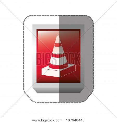 sticker rectangle button with striped traffic cone with shading vector illustration