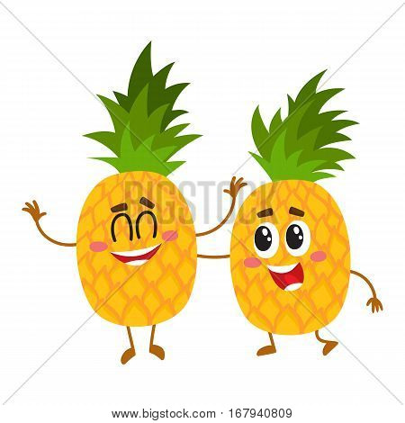 Two cute and funny pineapple characters, one tickling the other, cartoon vector illustration isolated on white background. Couple of funny pineapple characters, mascots having fun together