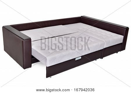 Folding sofa bed of white color full-size armrests upholstered brown leatherette isolated on a white background saved path selection.