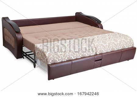 Full-size pull-out sofa sleeper light brown fabric and warehouses isolated on white background saved path selection.