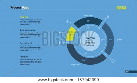 Four sectors doughnut chart slide template. Business data. Percent, diagram, design. Creative concept for infographic, presentation. Can be used for topics like analysis, marketing, research.