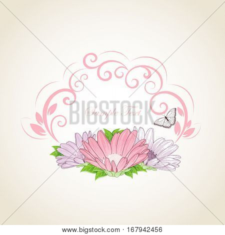 Floral frame with butterflies and flower chamomile. Element for design. Vector illustration.