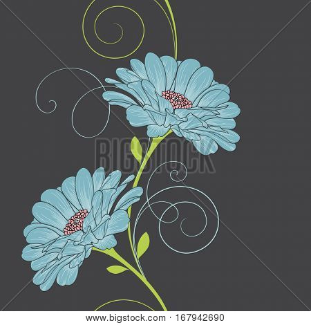 Seamless floral pattern with flower zinnia. Element for design. Hand-drawing vector illustration.