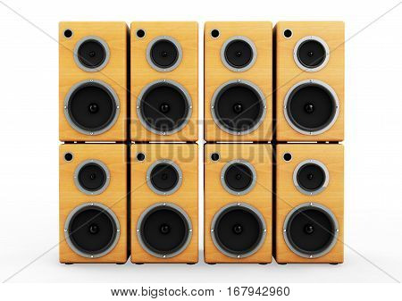 3d rendering wooden audio speaker boxes on white background