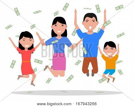 Vector illustration of a cartoon happy family rejoices falling on top of money. Isolated on white background. Parents and children jumping for joy. Flat style. Happy family won the big prize.