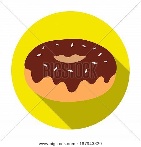 Donut with chocolate glaze icon in flat design isolated on white background. Chocolate desserts symbol stock vector illustration.